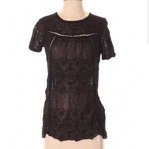 Lucky Brand Sheer Embroidered Eyelet Blouse